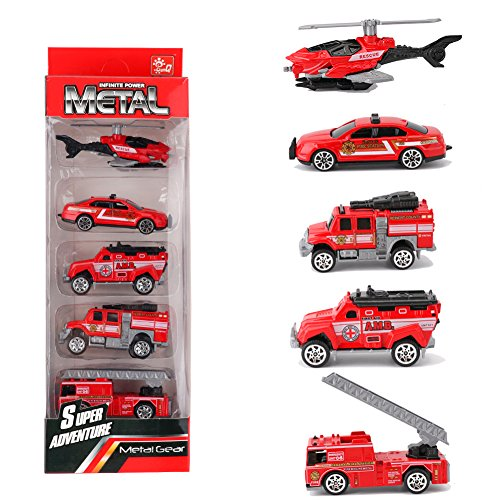 Looching 1:64 Metal Alloy Die-cast Cars Emergency Fire Rescue Series Mini Toys for Children 1 Set 5pcs Random Pattern (Firefighting)