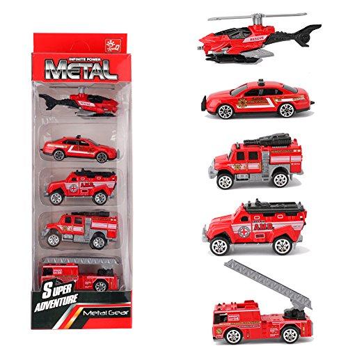 - Looching 1:64 Metal Alloy Die-cast Cars Emergency Fire Rescue Series Mini Toys for Children 1 Set 5pcs Random Pattern (Firefighting)