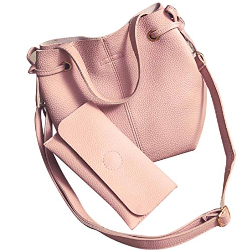 Handbag Women Clutch Litchi Shoulder Set Crossbody Stria Leather Wallet Pink Bag Voberry FI8dqI