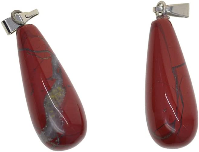 IPOTCH 2 Piezas De Cristal Natural De Piedras Preciosas Gota De Agua Joyería Que Hace Colgantes para La Boda - Jaspe Rojo