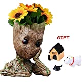 V-Leopard Groot Pen Pot Tree Baby Pens Holder Or  Flower Pot Perfect for Tiny Ceramic Succulents Plants and Desk Figure Model 6