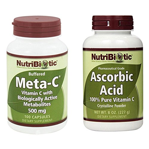 Ascorbic Acid Crystalline Powder - NutriBiotic Meta-C and Ascorbic Acid Bundle with Vegetable Lubricant, Gelatin, Vitamin C and Lemon Bioflavonoid Complex, 100 ct, and 8 oz. each