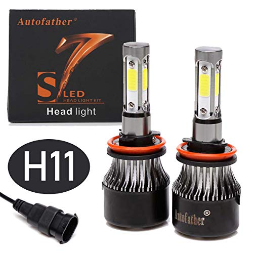 H11 LED Headlight Bulbs 4 Side 6000K Cool White 16000 Lumens for Low Beam/High Beam/Fog Light H8 H9 Car Headlamp COB Chips Bright Conversion Kit (Pack of 2, 2 Year Warranty)