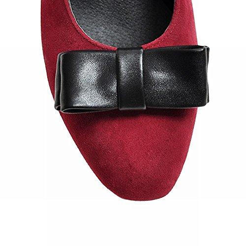 Mee Shoes Damen chunky heels Nubukleder Schleife Pumps Rot