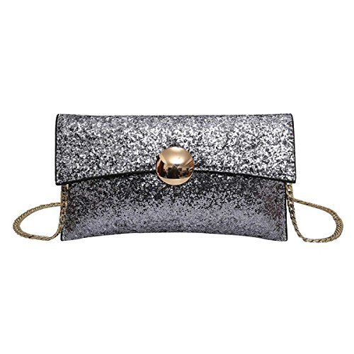 Paillettes Moda Tracolla Borsa Borsa Messenger Bag Donne,Silver-OneSize