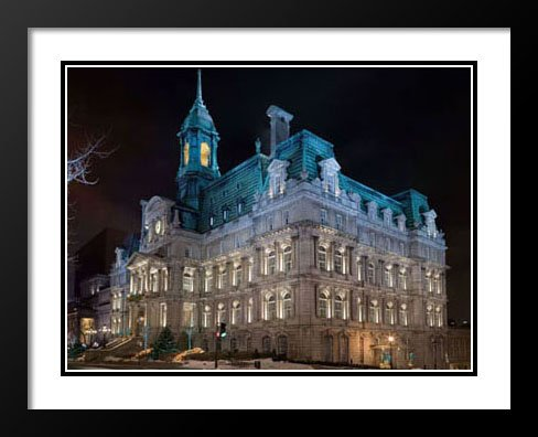 Montreal City Hall, Canada Large 20x23 Framed and Double Matted Photography (Canada Hall City)