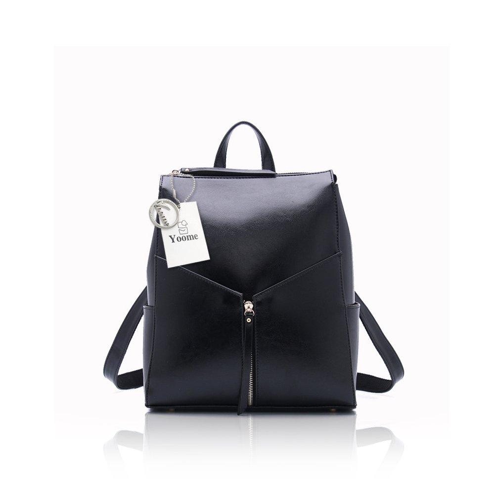 Yoome Leather Backpack Hand Bag Japanese and Korea Styles Shoulder Bag Women Backpack Travel Bag Black