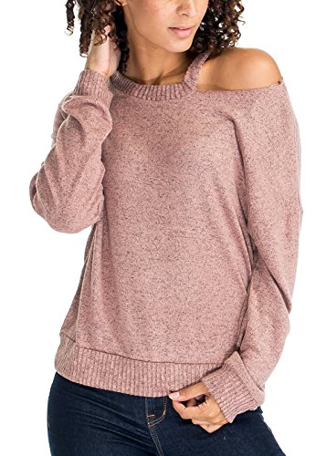 Luna Flower Women's One Side Cold Shoulder Cut Out Choker Neck Thin Long Sleeve Pullover Knit Sweater Tops Dusty_Rose (Jewel Neck Ribbed Sweater)
