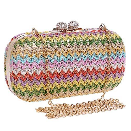 1 1 Mujer Clásico Bolsa Americano color Multicolor Bolso Hermosa Tejido Tamaño Y Europeo Magnífica 1 Discoteca Lujo De Noche Eeayyygch EZqHX