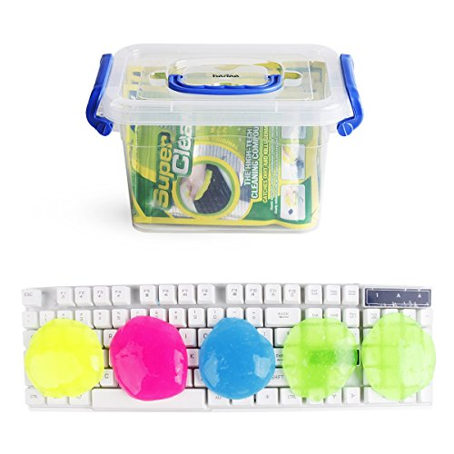 Bedee Keyboard Cleaner (5pcs)+ Storage Box Cyber Cleaning Gel Electronics Clean Putty Slime Home Office Remove Dust, Hair, Crumbs,Dirt from Computer Laptop Keypad, Calculator, Air Vent, Fan, Upgraded.