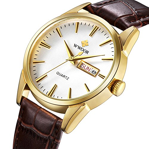 WWOOR Japanese Quartz 50M Waterproof Leather Strap Men's Watches Full Calendar Business Mens Watches (Brown Gold)