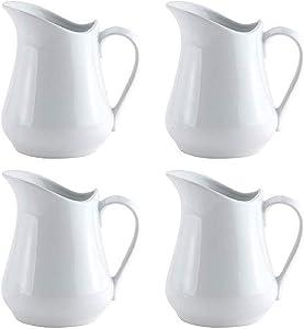 HIC Harold Import Co. Set of 4 Porcelain Creamer Pitcher Set, 4 Ounce, Fine White Porcelain