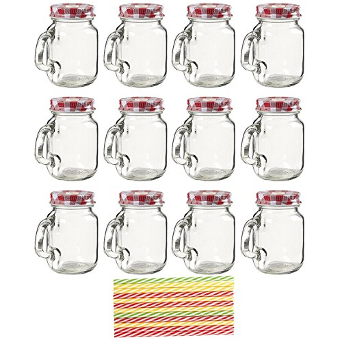 12-Pack Mason Jars - Mini Clear Mason Jar Set with Decorative Lids and Plastic Straws, Glass, Assorted Colors, 3.5 x 3 x 2 inches.