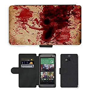 Hot Style Cell Phone Card Slot PU Leather Wallet Case // M00150444 Blood Spatter Blood Scroll Grunge // HTC One M8