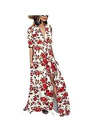 BOLUOYI Womens Fashion Print Half Sleeve Pockets Turn-Down Collar Bohemian Long Dress