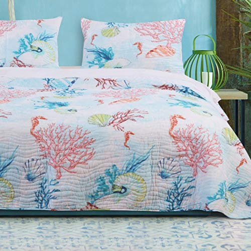 (3 Piece Red Blue Beach Theme Quilt Set Full Queen, Pink Yellow Tropical Themed Bedding White Green Seashell Pattern Coral Reef Seahorse Patterned Coastal Nautical Lake House Cottage,)