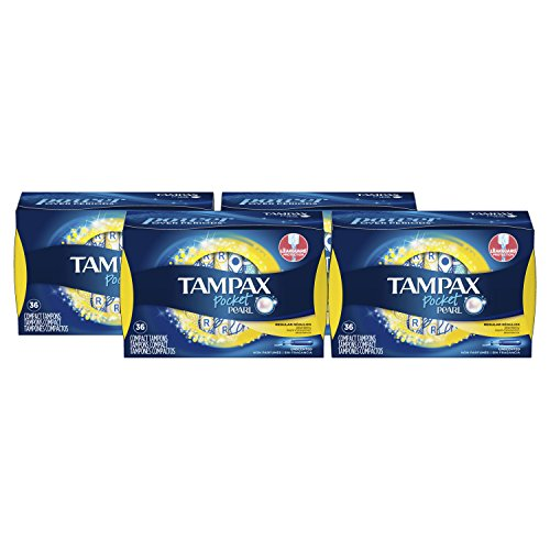 Tampax Pocket Pearl Tampons with Plastic Applicator, Regular Absorbency, Unscented, 36 Count- Pack of 4, (144 Count Total)