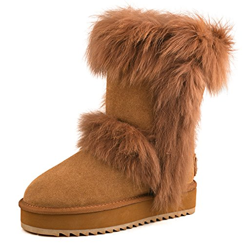 Wool Shoe AUSLAND Chestnut 2 Leather Suede Lined Platform Women's Boot Midcalf 88rwqEcR