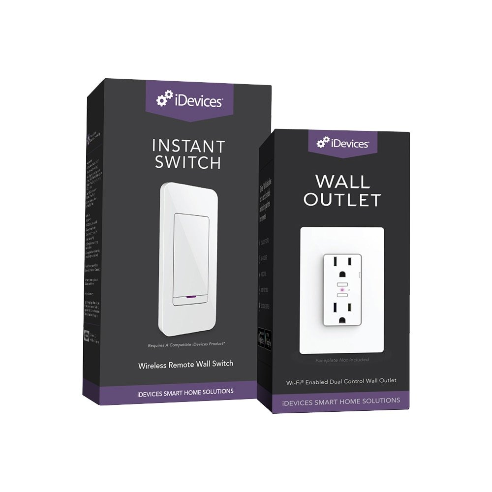 iDevices Wall Outlet + Instant Switch - Easy Pairing, Simple Installation, Dual Outlet Control