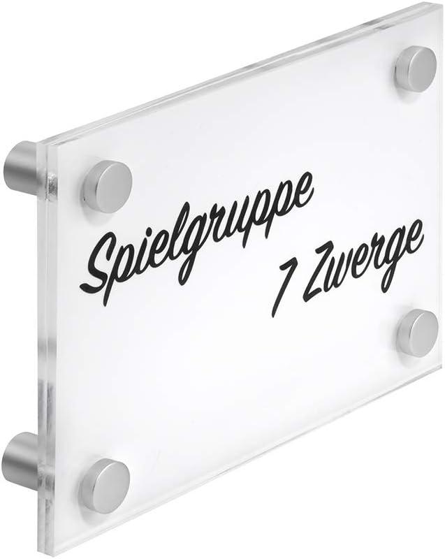 T/ürschild Acrylglas DIN A6 mit vier Abstandshaltern//Schildformat 105 x 149mm Aluminium Abstandshalter//Doppelseitig//transparent//gl/änzend//Postkartengr/ö/ße//Zeigis/®