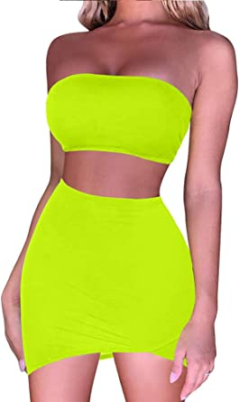 BEAGIMEG Womens Ruched Cami Crop Top Bodycon Skirt 2 Piece Outfits Dress
