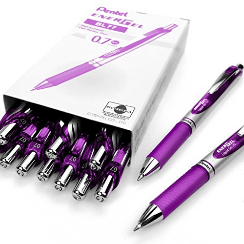 Pentel EnerGel XM BL77 - Retractable Liquid Gel Ink Pen - 0.7mm - 54% Recycled - Purple - Box of 12