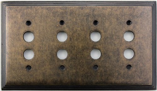 Classic Accents Deco Aged Antique Brass Four Gang Push Button Light Switch Wall Plate Antique Brass Four
