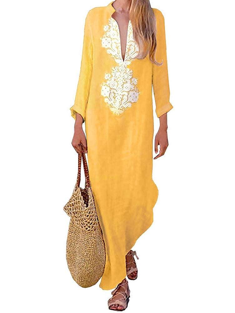 Tomwell Donna Eleganti Maxi Vestito Lungo Scollo a V e Maniche Lunghe Stampa Etnica di Moda Abito Spiaggia