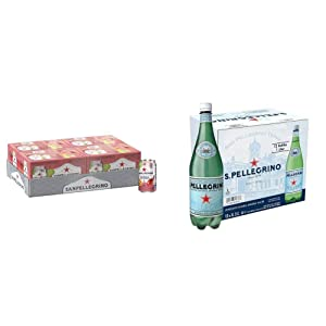 Sanpellegrino Prickly Pear and Orange Italian Sparkling Drinks, 11.15 fl oz. Cans (24 Count) & Sparkling Natural Mineral Water, 33.8 fl oz. (12 Pack)