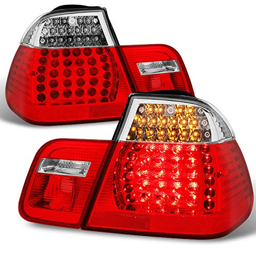 For 2002 2003 2004 2005 BMW E46 3-Series 325i | 325xi | 330i | 330xi Sedan LED Red Clear Taillights Lamp Left+Right Pair