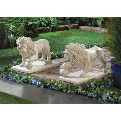 Magnificant Pair of REGAL LION STATUE DUO Guard your Garden Entrance