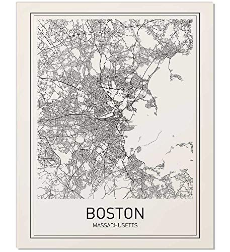 Boston Poster, Boston Map, Map of Boston, Boston Art, Minimalist Poster, City Map Posters, Massachusetts Map, Black and White, Map Wall Art, Map Art, Scandinavian Poster, 8x10