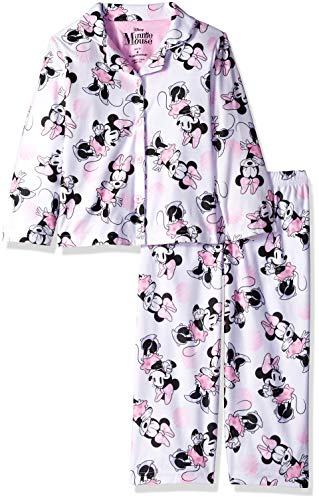 Disney Girls' Little Minnie Mouse 2-Piece Pajama Coat Set, Playful Pinks, 4]()