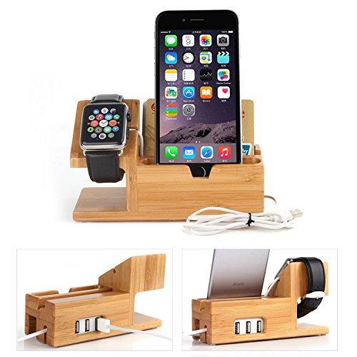 - JUN-Q 3-USB Port Wooden Charge Dock Holder for iWatch and Docking Station Cradle Bracket for iPod, iPhone, iPad and Smartphones and Tablets, Light Brown