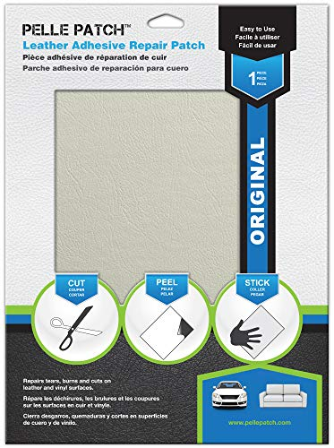 Pelle Patch - Leather & Vinyl Adhesive Repair Patch - 25 Colors Available - Original 8x11 - Off-White