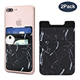 Cell Phone Card Holder, Stick on Wallet for back of Phone, 3M Adhesive and Ultra Slim Phone Pocket ID Credit Card Sleeves Pouch for iPhone, Android, Samsung galaxy and all smartphones - 2Pack (Marble)