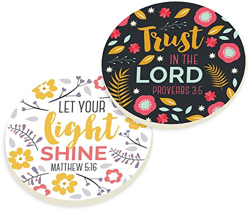 Trust in the Lord Let Your Light Shine Floral Ceramic Car Coaster Pack (Set of 2)
