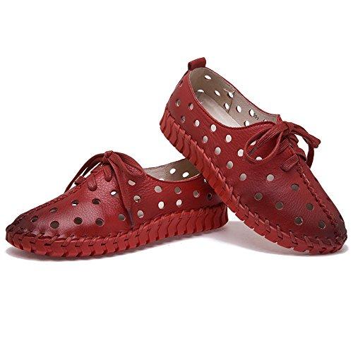 Loisir Creux Faible Mode Rouge Shenn Cuir Baskets Talon Femmes TI5nnq6
