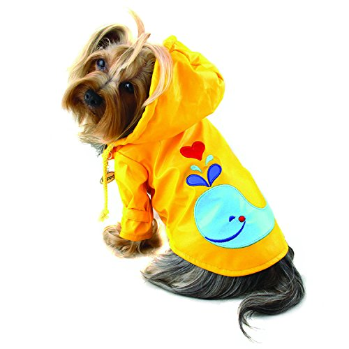 Klippo Dog/Puppy Splashing Whale Waterproof Jacket/Raincoat/Rain Gear/Rainwear with Cotton Lining for Small Breeds (D-ring Dog Raincoat)