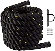 """Battle Rope with Anchor Kit - 2"""" Diameter - Poly Dacron 30ft Length Exercise Core Strength Training Fitne"""