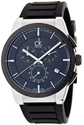 Calvin Klein Men's 'Dart' Swiss Quartz Stainless Steel and Rubber Casual Watch, Color:Black (Model: K2S37CD1)
