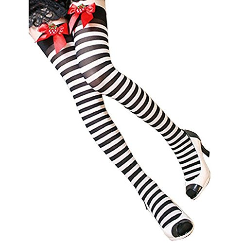 ZHIHONG Women's Striped Strawberry Bow Thigh High Socks Stockings (Black) (Black And Yellow Striped Nylon Stockings)