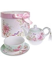 London Boutique Tea for One - Juego de Tetera, diseño de Flores y Mariposas, Color Verde Azulado