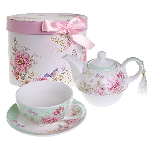 London Boutique Tea for One - Juego de Tetera, diseno de Flores y Mariposas, Color Verde Azulado