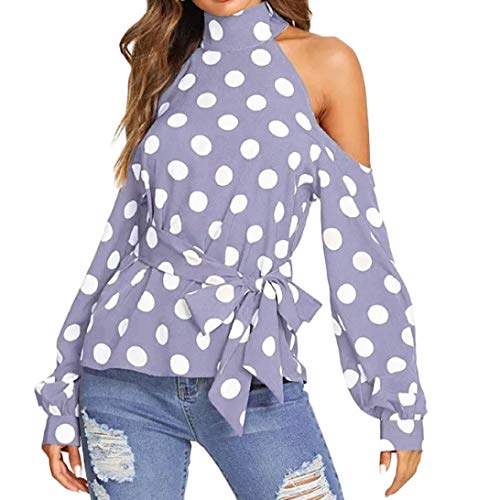 Cold Shoulder Top,Toimoth Women Dot Print Off Cold Shoulder Tie Long Sleeve Belt Blouse Shirt Top(Purple,M)