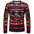 kaifongfu Tops for Men,African Print Crew Neck Long Sleeve Pullover Top Blouse