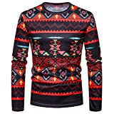 kaifongfu Tops for Men,African Print Crew Neck Long Sleeve Pullover Top Blouse(Black,S)