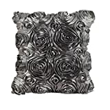 Clearance!Woaills Fashion Floral Decorative Satin Pillow Cover Throw Cushion Case (Gray)