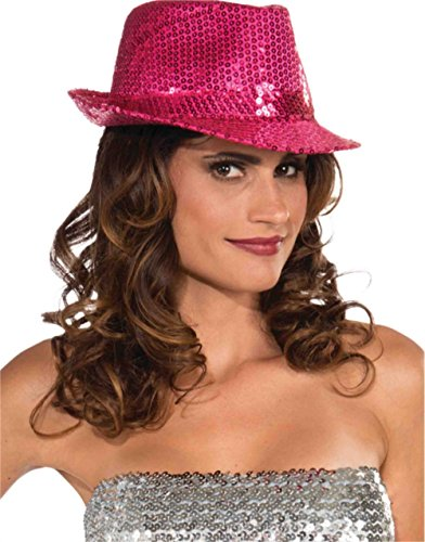 Forum Novelties Funky Magenta Sequin Club Dazzle Roaring 20s Gangster Girl Costume Fedora -