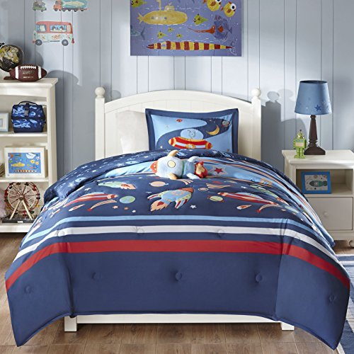 3 Piece Rocket Spaceships Themed Comforter Set Twin Size, Featuring Playful Galaxy Solar System UFO Design, Vibrant Colorful Rockets Outer Space Galaxies Kids Bedding, Blue, Red, Multicolor by SE